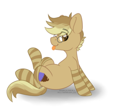 Size: 4584x4091 | Tagged: safe, artist:hellishprogrammer, oc, oc only, oc:clockwork (ice1517), earth pony, pony, icey-verse, clothes, glasses, heart eyes, male, next generation, offspring, parent:derpy hooves, parent:doctor whooves, parents:doctorderpy, simple background, sitting, socks, solo, stallion, striped socks, tongue out, transparent background, wingding eyes, ych result