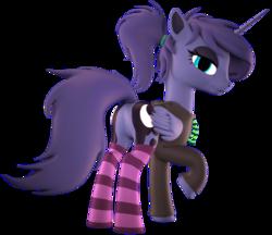 Size: 2044x1763 | Tagged: safe, artist:flushthebatsanta, princess luna, pony, 3d, alternate hairstyle, clothes, female, hoodie, plot, simple background, socks, solo, striped socks, transparent background