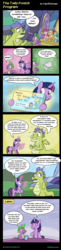 Size: 980x4000   Tagged: safe, alternate version, artist:pacificgreen, applejack, pinkie pie, rainbow dash, sludge (dragon), spike, twilight sparkle, alicorn, father knows beast, comic, dialogue, dna, how it should have ended, maury povich, paternity test, reality ensues, speech bubble, twilight sparkle (alicorn)