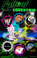 Size: 890x1408 | Tagged: safe, artist:arconius, derpy hooves, princess celestia, oc, oc:calamity, oc:homage, oc:life bloom, oc:littlepip, oc:velvet remedy, ghoul, pegasus, pony, unicorn, fallout equestria, artificial wings, augmented, cutie mark, dashite, elements of harmony, eyes closed, fanfic, fanfic art, female, hooves, horn, lying down, magic, magic wings, male, mare, open mouth, pipbuck, poster, prone, spread wings, stallion, wings