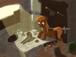 Size: 1600x1200 | Tagged: safe, artist:burnout42, oc, oc only, oc:calamity, pegasus, pony, fallout equestria, ammobox, battle saddle, colt, cowboy hat, crepuscular rays, dashite, fanfic, fanfic art, foal, gun, hammer, hat, hooves, male, mouth hold, rifle, screwdriver, shack, solo, tools, weapon, wings, workshop, younger
