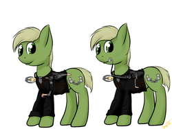 Size: 1600x1200 | Tagged: safe, artist:burnout42, oc, oc only, oc:murky, pegasus, pony, fallout equestria, fallout equestria: murky number seven, battle saddle, fanfic art, fleece, grappling hook, looking at you, male, simple background, solo, stallion, white background