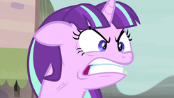 Size: 1280x720 | Tagged: angry face, bust, female, furious, glare, gritted teeth, mare, pony, quiet, ragelight glimmer, s5 starlight, safe, screencap, solo, starlight glimmer, the cutie map, unicorn, vein, vein bulge