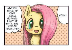 Size: 1000x698 | Tagged: safe, artist:plotcore, fluttershy, pegasus, pony, abstract background, blushing, bust, chest fluff, cute, demotivational, description is relevant, dialogue, drawthread, female, hidamari sketch, implied anon, looking at you, mare, ponified, ponified meme, portrait, request, shyabetes, smiling, solo, speech bubble, talking to viewer, yes