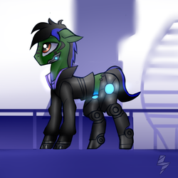 Size: 1000x1000 | Tagged: artist:5oussn, clothes, cybernetic enhancement, cyberpunk, floppy ears, male, oc, oc:endel frostlion, pony, safe, solo, stallion