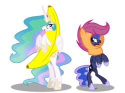 Size: 400x299 | Tagged: alicorn, animal costume, artist:serviner-tama, banana, bananalestia, banana suit, bipedal, blushing, chicken suit, clothes, commission, costume, cute, cutelestia, female, food, im a banana, lunabetes, mare, pony, princess celestia, princess luna, safe, scootaloo hat, scootaloo suit, simple background, sisters, standing, transparent background, wat