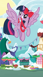 Size: 540x960 | Tagged: alicorn, bow, cute, female, flying, hearth's warming, official, ribbon, safe, smiling, twiabetes, twilight sparkle, twilight sparkle (alicorn), wings, winter