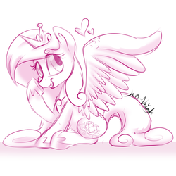 Size: 900x900 | Tagged: alicorn, artist:jen-neigh, crown, cutie mark, female, heart, jewelry, mare, monochrome, pony, princess cadance, raised hoof, regalia, safe, signature, simple background, sitting, sketch, smiling, solo, spread wings, white background, wings