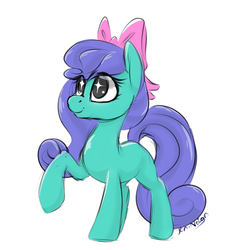 Size: 900x900 | Tagged: artist:jen-neigh, blank flank, blind bag, blind bag pony, bow, doodle, earth pony, eye sparkles, female, hair bow, mare, pony, raised hoof, safe, signature, simple background, sketch, solo, toy, white background, wingding eyes
