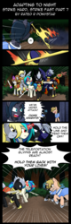 Size: 960x3000 | Tagged: armor, artist:shujiwakahisaa, comic, comic:adapting to night, derpy hooves, dj pon-3, magic, oc, pony, safe, sword, vinyl scratch, weapon