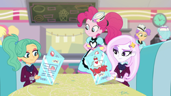 Size: 1920x1080 | Tagged: safe, screencap, derpy hooves, fleur-de-lis, garden grove, pinkie pie, sunny sugarsocks, tip top, equestria girls, equestria girls series, spoiler:eqg series (season 2), clothes, crystal prep academy uniform, female, menu, ponytail, school uniform, server pinkie pie, smiling, when she smiles