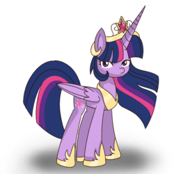 Size: 850x850   Tagged: safe, artist:winter-scarf, twilight sparkle, alicorn, pony, big crown thingy, crown, female, hoof shoes, jewelry, long horn, looking at you, mare, necklace, regalia, simple background, solo, twilight sparkle (alicorn), white background, wings