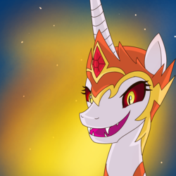 Size: 1500x1500 | Tagged: alicorn, artist:serviner-tama, bust, daybreaker, evil grin, fangs, female, grin, helmet, jewelry, mane of fire, mare, night, pony, regalia, safe, smiling, solo, stars
