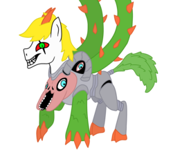 Size: 3300x3000 | Tagged: artist:maxter-advance, claws, horns, nightmare fuel, omega flowey, ponified, pony, safe, smiling, solo, thorns, undertale