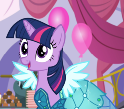 Size: 1068x938 | Tagged: alicorn, canterlot boutique, clothes, cropped, dress, open mouth, pony, princess dress, safe, screencap, smiling, solo, twilight sparkle, twilight sparkle (alicorn)
