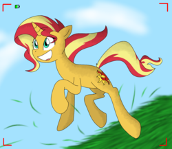 Size: 1243x1081 | Tagged: artist:winter-scarf, camera, camera shot, cloud, female, grass, mare, open mouth, pony, running, safe, sky, solo, sunset shimmer, unicorn, windswept mane