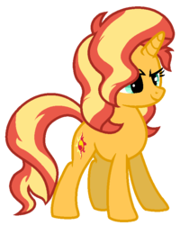 Size: 592x740 | Tagged: artist:serviner-tama, female, mare, pony, safe, simple background, smiling, smirk, solo, sunset shimmer, transparent background, unicorn, vector