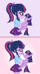 Size: 3000x5500 | Tagged: alicorn, artist:yinglongfujun, boop, clothes, cute, equestria girls, eyes closed, female, holding a pony, human ponidox, mare, pony, safe, sci-twi, self ponidox, smiling, twiabetes, twilight sparkle, twilight sparkle (alicorn), twolight