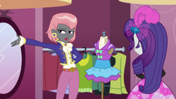 Size: 1920x1080 | Tagged: arms behind back, boutique, clothes, display of affection, dress, ear piercing, earring, equestria girls, equestria girls series, female, jacket, jewelry, mannequin, mirror, piercing, prim hemline, rarity, safe, screencap