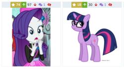 Size: 924x516 | Tagged: safe, artist:winter-scarf, screencap, rarity, sci-twi, twilight sparkle, unicorn, derpibooru, display of affection, equestria girls, equestria girls series, spring breakdown, spoiler:eqg series (season 2), equestria girls ponified, juxtaposition, meta, unicorn sci-twi