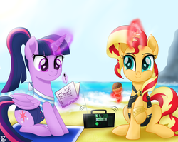 Size: 6900x5500 | Tagged: absurd res, alicorn, artist:theretroart88, beach, boombox, clothes, clothes swap, dessert, equestria girls, equestria girls outfit, equestria girls ponified, equestria girls series, food, ice cream, levitation, magic, ocean, pen, ponified, pony, radio, raised hoof, safe, sand, sitting, smiling, sunset shimmer, swimsuit, telekinesis, twilight sparkle, twilight sparkle (alicorn), unicorn