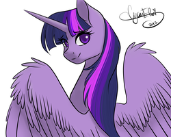 Size: 3997x3201 | Tagged: alicorn, artist:varshacoro, colored pupils, cute, eye clipping through hair, female, looking at you, looking back, looking back at you, majestic, mare, pony, safe, signature, simple background, solo, spread wings, twiabetes, twilight sparkle, twilight sparkle (alicorn), white background, wing fluff, wings