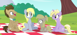 Size: 4308x1968 | Tagged: safe, artist:velveagicsentryyt, derpy hooves, dinky hooves, doctor whooves, time turner, oc, oc:muffinyves, pegasus, pony, doctor whooves gets all the assistants, doctorderpy, family, female, filly, male, offspring, older, parent:derpy hooves, parent:doctor whooves, parents:doctorderpy, picnic blanket, shipping, straight