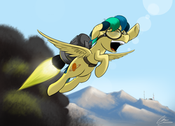 Size: 2931x2109 | Tagged: artist:oinktweetstudios, eyes closed, female, flying, goggles, jetpack, mare, oc, oc:apogee, oc only, open mouth, pegasus, pony, raised hoof, rocket, safe, shenanigans, solo, superman