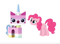 Size: 880x646 | Tagged: artist:mracrizzy, crossover, lego, pinkie pie, safe, simple background, the lego movie, unikitty, white background