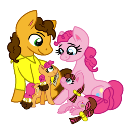 Size: 584x588 | Tagged: artist:hoalyden, base used, cheesepie, cheese sandwich, earth pony, female, filly, male, oc, oc:cheese pie, oc:raspberry pie, offspring, parent:cheese sandwich, parent:pinkie pie, parents:cheesepie, pinkie pie, pony, safe, shipping, simple background, straight, white background