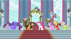 Size: 3323x1815 | Tagged: applejack, artist:hoalyden, cheesepie, cheese sandwich, female, fluttershy, male, mane six, marriage, oc, pinkie pie, pony, rainbow dash, rarity, safe, shipping, straight, twilight sparkle, wedding