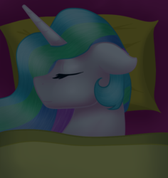 Size: 617x653 | Tagged: alicorn, artist:sevenserenity, bed, bust, commission, dark, eyes closed, pony, portrait, princess celestia, safe, sleeping