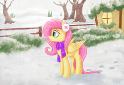 Size: 4800x3300   Tagged: safe, artist:citizensmiley, fluttershy, pegasus, pony, clothes, earmuffs, female, fence, folded wings, looking away, mare, outdoors, profile, scarf, snow, solo, standing, tree, wings, winter, winter outfit