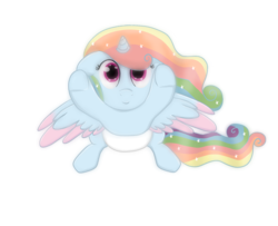 Size: 1061x861 | Tagged: alicorn, alicorn oc, artist:sevenserenity, baby, commission, flowy mane, foal, looking at you, not rainbow dash, oc, pony, safe, simple background, solo, transparent background, upsies