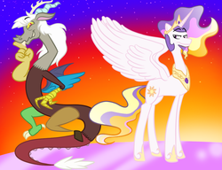 Size: 936x720 | Tagged: artist:mrhoneystreak, discord, eris, prince solaris, princess celestia, rule 63, safe
