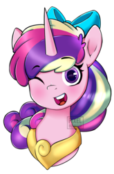 Size: 750x1139 | Tagged: artist:pixelbombpop, bow, bust, collar, cute, cutedance, hair bow, jewelry, one eye closed, open mouth, peytral, pony, portrait, princess cadance, safe, simple background, solo, teen princess cadance, transparent background, wink