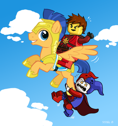 Size: 1103x1172 | Tagged: artist:valerei, crossover, flash sentry, jestro, kai smith, lego, nexo knights, ninjago, safe, vincent tong, voice actor joke