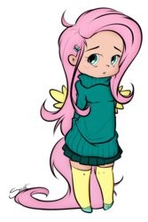 Size: 657x981 | Tagged: artist:secret-pony, clothes, colored, color edit, cute, edit, editor:theodoresfan, female, fluttershy, hairpin, hands behind back, human, humanized, safe, shyabetes, simple background, socks, solo, sweater, sweater dress, sweatershy, transparent background, winged humanization, wings
