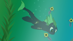 Size: 7680x4320 | Tagged: absurd resolution, air bubble, alternate version, artist:waveywaves, cropped, kelp, oc, oc:middy, oc only, original species, peeper (subnautica), safe, shark pony, subnautica, swimming, underwater, wreck