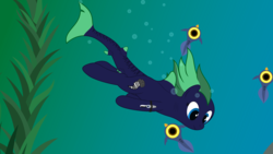 Size: 15360x8640 | Tagged: absurd resolution, air bubble, alternate version, artist:waveywaves, cropped, kelp, oc, oc:middy, oc only, original species, peeper (subnautica), safe, shark pony, subnautica, swimming, underwater, wreck