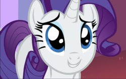 Size: 1497x939 | Tagged: cropped, cute, female, looking at you, mare, pony, puppy dog eyes, raribetes, rarity, rarity investigates, safe, screencap, smiling, solo, unicorn, wide eyes
