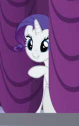 Size: 531x840 | Tagged: cropped, curtains, cute, female, mare, pony, raribetes, rarity, rarity investigates, safe, screencap, smiling, solo, unicorn