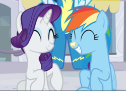 Size: 1086x782 | Tagged: cropped, cute, dashabetes, duo focus, eyes closed, female, mare, offscreen character, pegasus, pony, rainbow dash, raribetes, rarity, rarity investigates, safe, screencap, sitting, smiling, soarin', sunscreen, unicorn
