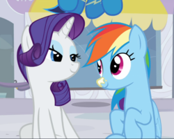 Size: 1066x858 | Tagged: cropped, cute, dashabetes, duo focus, female, lidded eyes, looking at each other, mare, pegasus, pony, rainbow dash, raribetes, rarity, rarity investigates, safe, screencap, sitting, smiling, soarin', sunscreen, unicorn