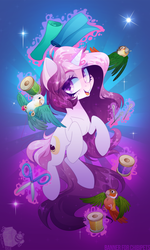 Size: 1500x2500 | Tagged: safe, artist:zombie, oc, oc only, oc:glowing night, parakeet, pony, unicorn, fabric, female, mare, scissors, smiling