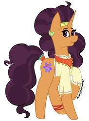 Size: 1403x1916 | Tagged: artist:sammiemae227, bandana, bracelet, clothes, curly mane, curly tail, cute, ear piercing, earring, female, headband, jewelry, looking at you, mare, multicolored hair, one leg raised, piercing, pony, raised hoof, safe, saffronbetes, saffron masala, simple background, smiling, solo, unicorn, white background