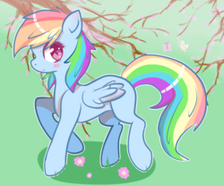 Size: 6000x5000 | Tagged: artist:tuxisthename, blushing, butterfly, colored pupils, cute, dashabetes, female, flower, mare, missing cutie mark, pegasus, pony, profile, rainbow dash, safe, solo