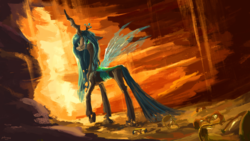 Size: 1920x1080 | Tagged: artist:plainoasis, cave, changeling, changeling queen, changelings in the comments, female, hourglass, looking back, queen chrysalis, safe, sand, smiling, solo