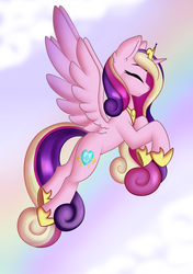 Size: 2039x2893 | Tagged: artist:xcinnamon-twistx, calm, closed eye, cloud, jewelry, pony, princess cadance, rainbow, regalia, safe, sky