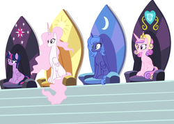 Size: 3232x2304 | Tagged: alicorn, alicorn thrones, alternate hairstyle, artist:amelia-bases, artist:wilt, base used, derpibooru exclusive, missing cutie mark, pink-mane celestia, pony, princess cadance, princess celestia, princess luna, s1 luna, safe, twilight sparkle, twilight sparkle (alicorn)